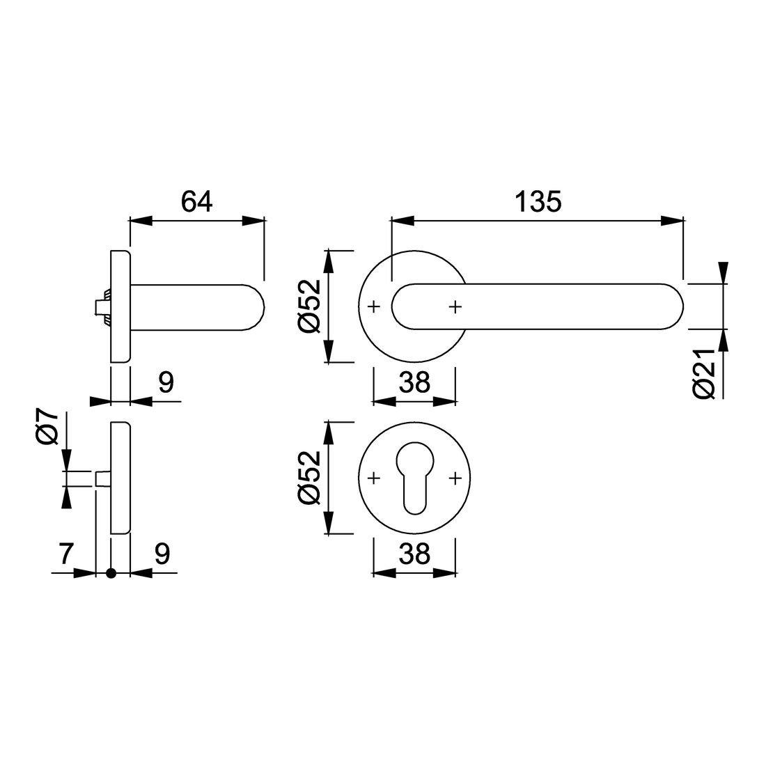 HOPPE Rosetten-Garnitur Paris Kunststoff verkehrswei/ß K138//15//15S 720743