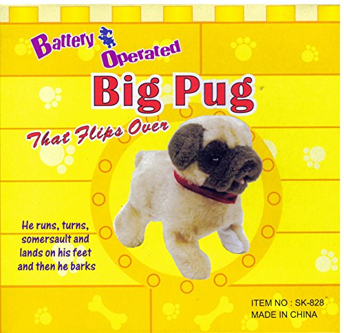 Big Pug That Flips Over - Battery Operated – Huggable Dog Friend - Kid Toy (Pug Dog Toy)