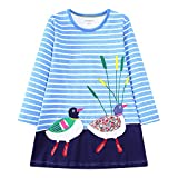 IsabelaKids Girls Cotton Long Sleeve Casual Cartoon Appliques Striped Jersey Dresses (6T, Duck)
