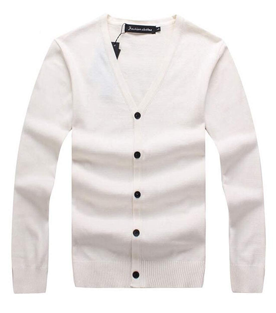 Domple Mens Casual Plain Long Sleeve V Neck Buttons Slim Fit Knitting Cotton Sweater Cardigan