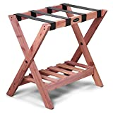 Woodlore Luggage Rack with Shoe Shelf for Guest Room,Bedroom and Home - Made in USA