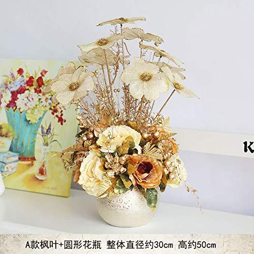 - Zhihuoyou Living Room European-Style Simulation Flower Set Fake Flower Table Gold Secret Speight Door Set Flower Ceramic vase A Maple Leaf and Round vase