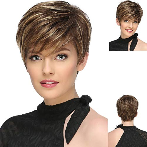 GNIMEGIL Short Brown Wigs for White Women Fashion Straight Layered Wigs with Bangs Mixed Color Heat Resistant Synthetic Full Wigs for Daily Use Party Natural as Real Hair