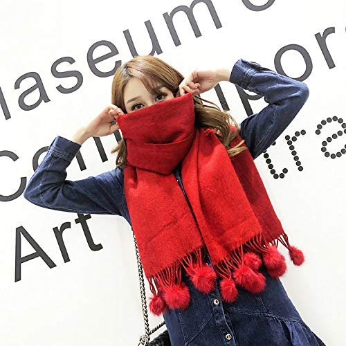 Red Warm Winter Scarf Winter Solid color Thick Warm Wool Ball Scarf Female Winter red Fashion Wild Thick Warm (color   Pink) Neck Scarf