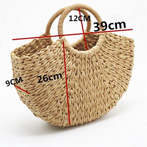 Women Bag black Bag Wrapped Beach Bag Straw lining Moon with Beach Weaving Amuele Shaped Bag P5wqBx7B