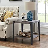 O&K Furniture Industrial Accent End Table with Storage Shelf, Metal Night Stand for Living Room and Bedroom, Gray(1-Pcs)
