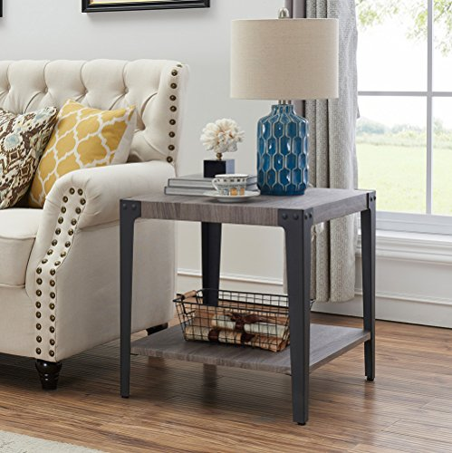 Amazoncom Ok Furniture Industrial Accent End Table With Storage