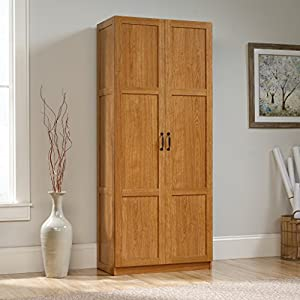 Sauder 419188 Storage Cabinet, L: 29.61″ x W: 16.10″ x H: 71.10″, Highland Oak finish