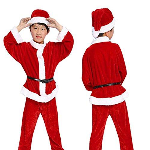 Boy Sant Clause Costume, Dumanfs Kid Christmas Party Clothes Top+Pants+Hat set (Red, 6-7Y) ()