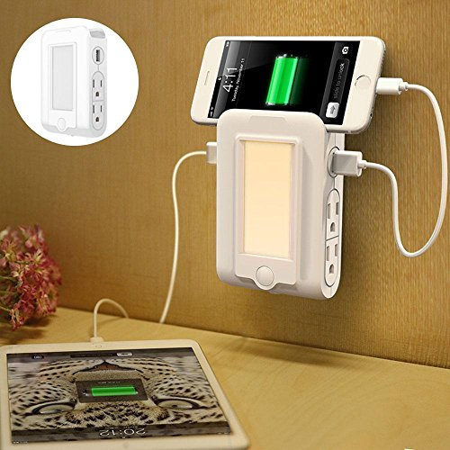 Wall Mounted Phone Charging Station - Teepao Wall Mount Charger with 2 USB Port& 4 AC Outlets,Sensor LED Night Light with Phone Holder Slot Multifunction Wall Station