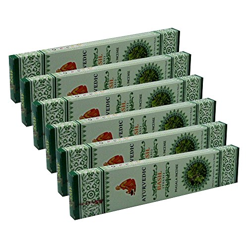 Ayurvedic Basil Masala Incense Sticks Pack of 6 Boxes 15gms Each for Cleansing, Purifying, Good Luck, Wealth, Love, Relaxation, Emotional & Mental Strength