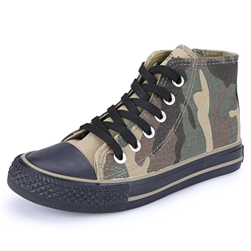 VECJUNIA Boys Girls Camouflage Lace-Up Canvas Shoes High Top Green 28EU/10.5 M US Little Kid