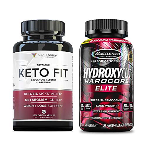 HYDROXYCUT Hardcore Elite and Keto FIT: Intense Fat Burning Stack and Weight Loss Pills Combo, Fat Burner Diet Supplements with Exogenous BHB Ketones, Reduce Appetite and Burn Body Fat, 30-Day Supply