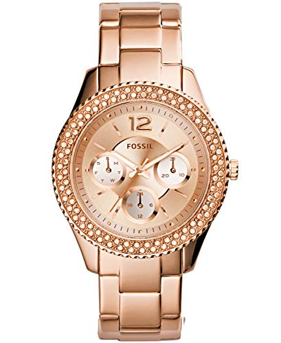 Fossil Women's Stella Quartz Stainless Steel Chronograph Watch, Color: Rose Gold  (Model: ES3590) ()