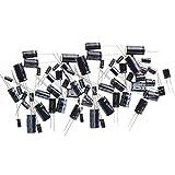 Ltvystore 125PCS 25 Values 16V 25V 50V 1uF to 2200uF Electrolytic Capacitors Assortment Kit Set Black