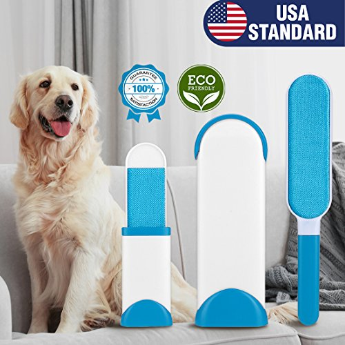 Veehoo Pet Hair Removal - Self Cleaning Dog & Cat Hair Remover Brush - Reusable Double Sided Fur & Lint Brush - Easy to Clean Furniture and Clothes