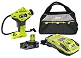 Ryobi P737 Portable Inflator with P117 Battery Charger, P107 18-volt Compact Lithium-ion Battery and 13 inch Tool Bag (Bundle)