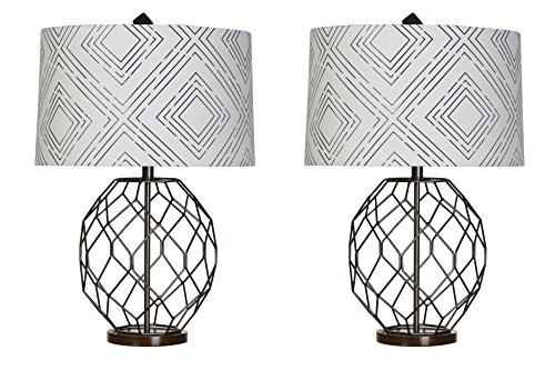 VALUE PACK of Iron Wire Table Lamps, by Sheffield Home, Set of 2 (Lamp Table Wire)