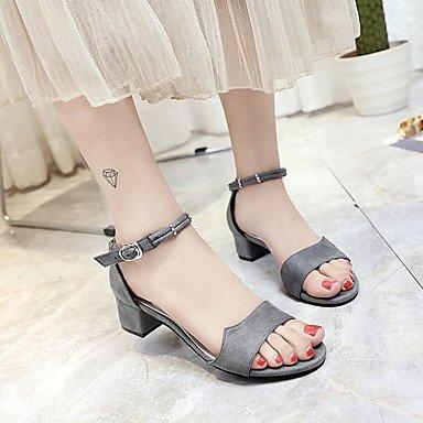 LvYuan tacones de los zapatos del club de verano polar outdoor partido&noche tacón grueso ocasional de la hebilla caminar Black