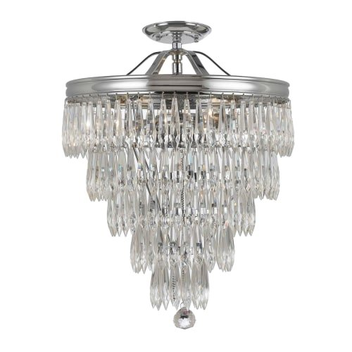 Crystorama 120-CH-CL-MWP_CEILING Transitional Three Light Ceiling Mount from Chloe collection in Chrome, Pol. Nckl.finish, Review