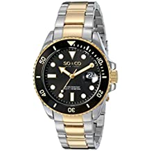 SO&CO New York Men's 5025.5 Yacht Timer Quartz Date Luminous Accent Stainless Steel Two Tone Link Bracelet Watch