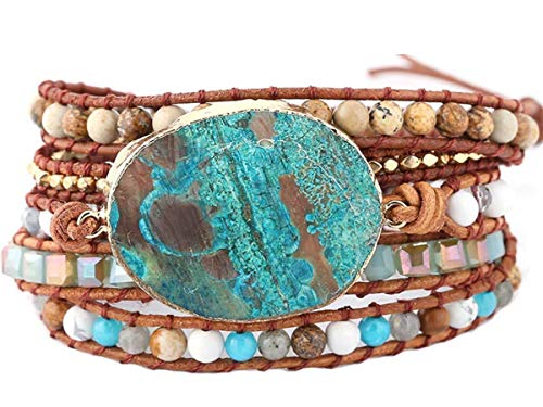 (MO SI YI Genuine Leader Bead Wrap Bracelets for Women Girls Men with Multi-Colors 4/6mm Round India Agate Gem/Stone Beaded 2/3/5 Wrapped Adjustable Handmade (5 wrap(Ocean Jasper Stone)))