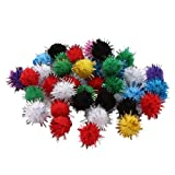 SONGLIN Arts Craft Pompoms Glitter Poms Sparkle Balls– Assorted Color (0.79 inch with Glitter Tinsel- 100 Pcs)