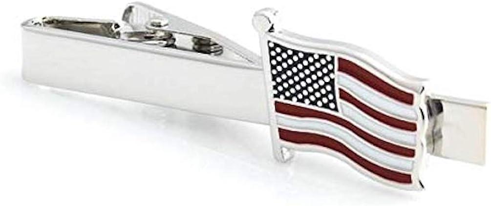 Procuffs American Flag USA Patriotic Tie Clip Blk Wedding Bar Clasp