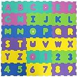 TÜV GEPRÜFT FORMAMID FREI 20x20cm EVA Puzzlematten Puzzleteppich Bodenmatten Bodenpuzzles 36teilig (Zahlen und Buchstaben) oder 10 teilig (Zahlen) TÜV geprüfte Formamide Werte (36 Matten Farbe Pastell)