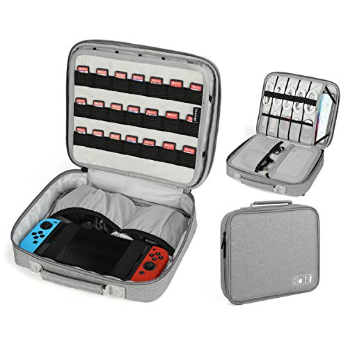 - Vemingo Electronic Accessories Organizer Nintendo Switch Carrying Case with 21 Game Cartridge Double Layer Travel Universal Cable Storage Bags for iPad Mini, Nintendo, E-Book or Tablet