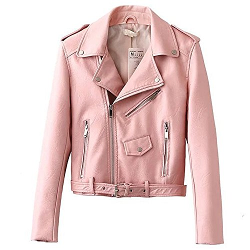 LJYH Women's Fashion Fitted Leather Motorcycle Jacket Short Zipper Coat by LJYH