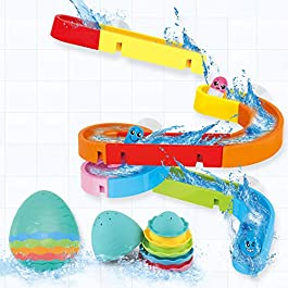 Dwi Dowellin Bath Toys for Toddlers DIY Water Slide Waterfall Ball Tracks with Egg Stacking Cups Wall Bathtub Tub Toys…