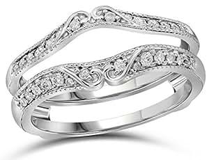 Amazon.com: 14kt White Gold Womens Round Diamond Ring
