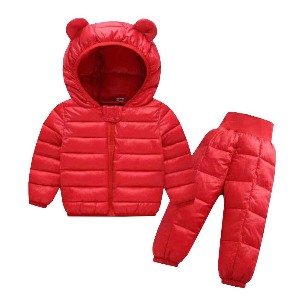 lifepot Kids Down Jacket Set 2 Piece Hooded Snowsuit with Ski Pants