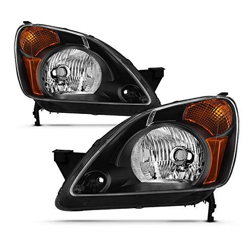 - For 2002 2003 2004 Honda CR-V Black Housing [w/Amber Corner Lamp] Headlights Driver+Passenger Side Replacement