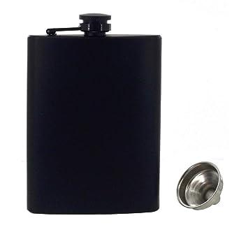 Petaca para licor y embudo de acero inoxidable 18/8 a prueba de fugas, botella de alcohol para bebidas discretas de alcohol, whisky, ron y vodka, ...