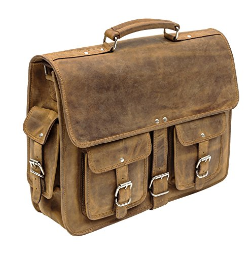 "Porterbello Milan - Bolso al hombro para hombre Marrón marrón Will carry up to 18"" Laptop"