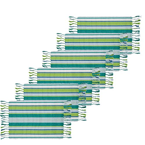 Mirage Rectangular Table - C&F Home Ribbed Mirage Green Cotton Placemat Set of 6 Rectangular Placemat Set of 6 Green