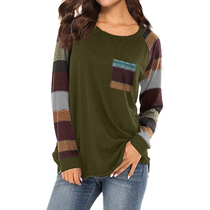 704da8c1c8603d Toamen Women's Tops Blouse Sweatershirt Long Sleeve Basic Elbow Striped  Patchwork Tunic Pullover T-Shirt