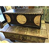 Mogul Interior Mogulinterior Spice Route Journey Vintage Tobacco Dark Brown Trunk Coffee Table with Circle Floral Carved Chest