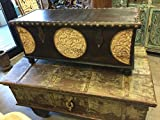 Mogulinterior Spice Route Journey Vintage Tobacco Dark Brown Trunk Coffee Table with Circle Floral Carved Chest