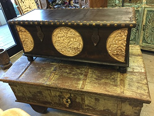 Mogulinterior Spice Route Journey Vintage Tobacco Dark Brown Trunk Coffee Table with Circle Floral Carved Chest (Chest Coffee Table Teak)