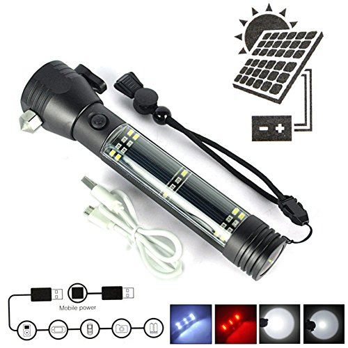 Solar Linterna Led Rechargable Usb Flashlight Work Light Magnetic Lifesaving Hammer for Outdoor Escape Rescue Tool With Compass - Can also Charge Cellphone, MP3, Tablet and much (Auto Rescue Flashlight)