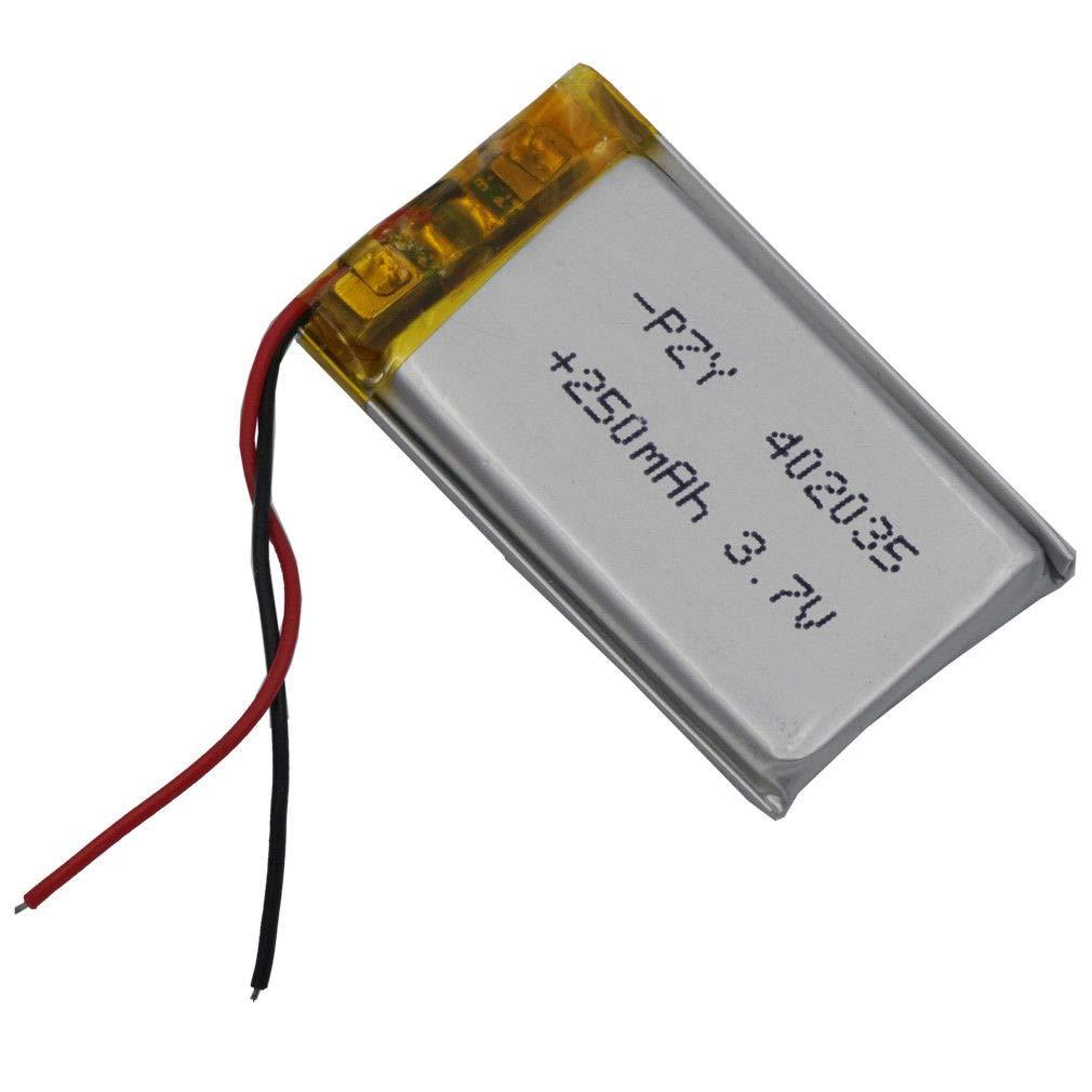 FidgetFidget Battery 3.7V 250 mAh Polymer Li for Mp3 GPS Bluetooth Headset Pen Glasses 402035
