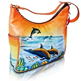 Vintage Shoulder Handbag Soft Leather Quality Casual Tote Hand Painted DOLPHIN Hobo Satchel Bag SALE