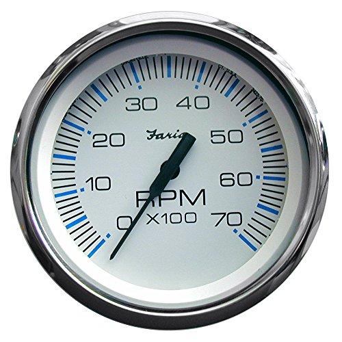 Faria Chesapeake White SS 4″ Tachometer – 7,000 RPM (Gas – All Outboards)