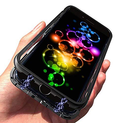 [해외]아이폰 7 플러스 케이스아이폰 8 플러스 케이스 + 무료 강화 유리 스크린 보호기 마그네틱 케이스 금속 프레임 강화 유리 [무선 충전 지원](블랙 프레임 + 클리어 백) / iPhone 8 Plus case, iPhone 7 Plus case + Free Tempered Glass Screen Prote...