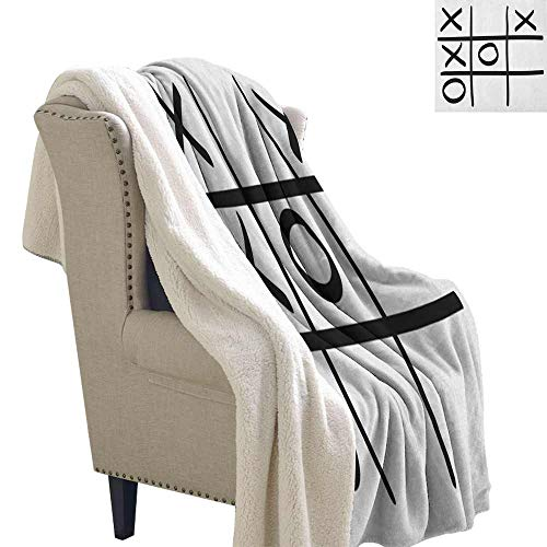 (Willsd Xo Wool Blanket Tic Tac Toe Pattern Unfinished Game Hobby Theme Alphabet Minimalist Artful Image Reversible Blanket for Bed and Couch Black and White W59 x L47)