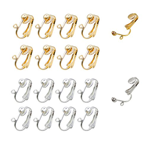 40pcs Clip on Earring Converter with Easy Open Loop, Granmp Clip Earring Findings for Jewelry Making Clip on Earrings for Crafts, Silver Gold ()