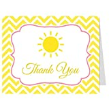 Baby Shower Thank You Cards, Yellow Chevron Stripes, Ray of Sunshine, Multiple Color Choices, Set of 50 Thank You Notes with Envelopes, (Pink)